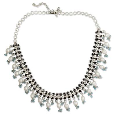Cultured pearl and blue topaz waterfall necklace, 'Dancing Queen' - Pearl and Blue Topaz Choker Necklace from India