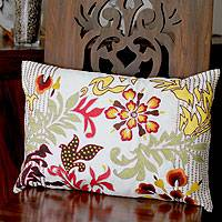 Cushion cover, 'Flamboyant Flowers' - Cushion cover