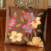 Cushion cover, 'Hibiscus Haven' - Cushion cover