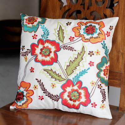 Cushion cover, 'Floral Celebration' - Hand Made Floral Applique Cushion Cover