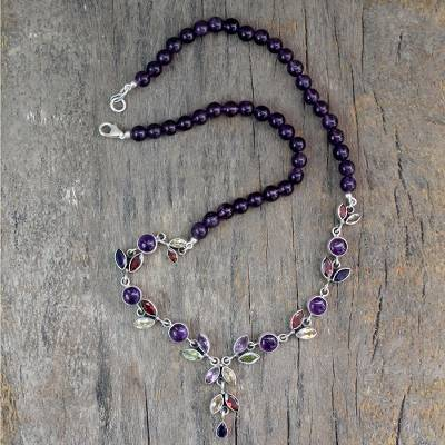 Amethyst and citrine Y-necklace, 'Wild Feminine' - Floral Y Necklace Multigemstone jewellery from India