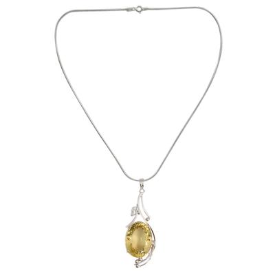 Lemon quartz floral necklace, 'Sweet Nectar' - Lemon quartz floral necklace