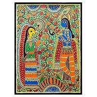 Madhubani painting, 'Devoted Radha and Krishna' - Madhubani painting