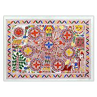 Madhubani painting, 'Wedding Room' - Original Signed Madhubani Folk Art Painting