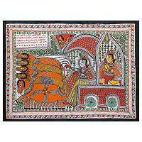 Madhubani painting, 'The Mahabharata Battle' - Original Madhubani Painting