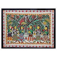 Madhubani painting, 'Krishna Charms Gopies' - Madhubani painting