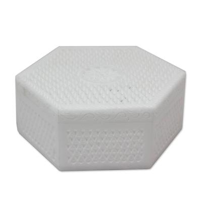 Marble jewelry box, 'Lattice Lace' - Marble jewellery box