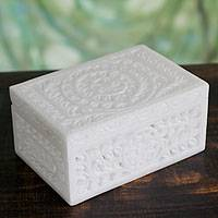 Marble jewelry box, 'Indian Morning Glory' - Handcrafted Jali Marble Jewelry Box