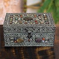 Brass jewelry box, 'Mughal Paradise' - Handmade Repousse Brass jewellery Box