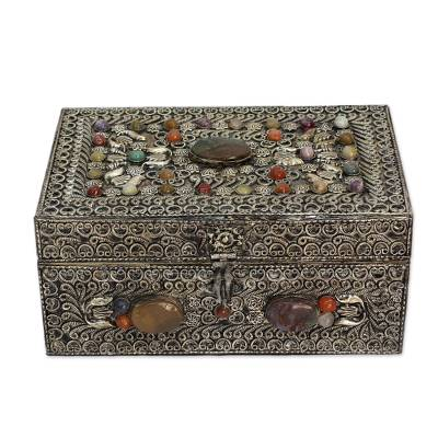 Brass jewelry box, 'Mughal Paradise' - Handmade Repousse Brass Jewelry Box