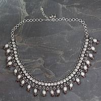 Cultured pearl and garnet waterfall necklace, 'Dancing Queen' - Pearl and Garnet Necklace in Sterling Silver from India