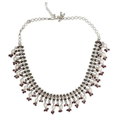 Pearl and Garnet Necklace in Sterling Silver from India