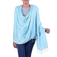 Silk shawl, 'Blue Whisper' - Handcrafted Silk Shawl India Wrap
