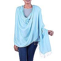 Silk shawl, 'Blue Whisper'