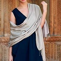 Silk shawl, 'Elegant Taupe'
