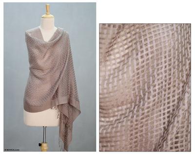 Wool and silk shawl, 'Taupe Bliss' - Handmade Shawl Wool Silk Patterned Wrap