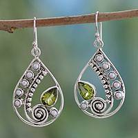 Peridot and cultured pearl dangle earrings, 'Inspired Paisley' - Paisley Pearl and Peridot Sterling Silver Earrings