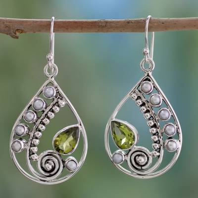 Peridot and cultured pearl dangle earrings, 'Inspired Paisley' - Pearl and Peridot Earrings Sterling Silver Jewelry
