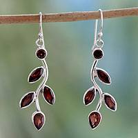 Garnet flower earrings, 'Scarlet Bouquet' - Garnet and Sterling Silver Earrings Indian Jewelry