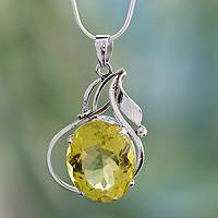 Lemon quartz pendant necklace, 'Indian Empress' - Lemon quartz pendant necklace