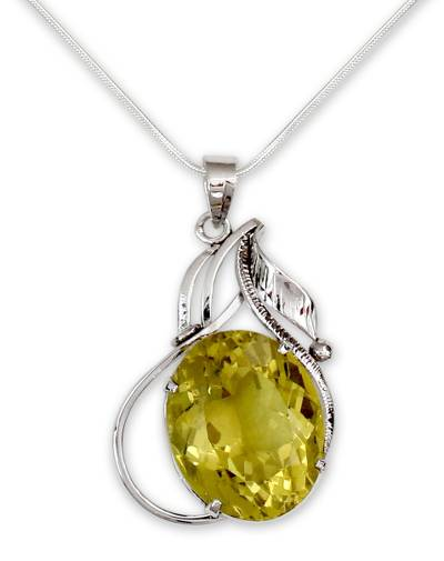 Lemon quartz pendant necklace, 'Indian Empress' - Lemon quartz pendant necklace