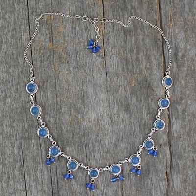 Chalcedony waterfall necklace, 'Sky Dancer' - Handmade Sterling Silver Waterfall Chalcedony Necklace