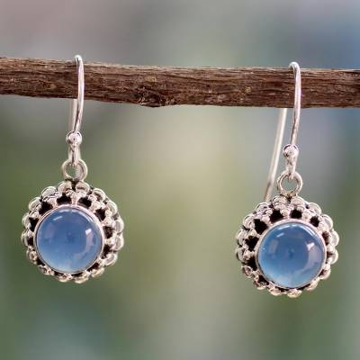 Chalcedony dangle earrings, 'Eternally Blue' - Artisan Crafted Silver and Blue Chalcedony Earrings India