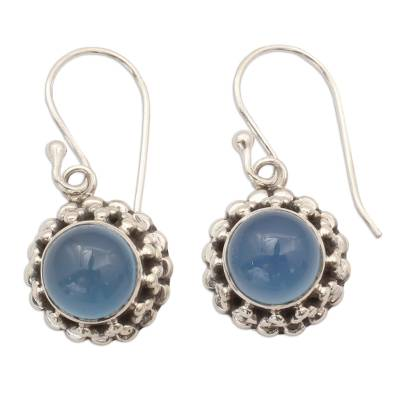 Artisan Crafted Silver and Blue Chalcedony Earrings India