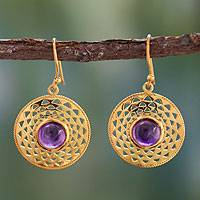 Gold vermeil amethyst dangle earrings, 'Jaipur Suns' - Indian Gold Vermeil and Amethyst Earrings