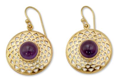 Gold vermeil amethyst dangle earrings, 'Jaipur Suns' - Indian Gold Vermeil and Amethyst Earrings
