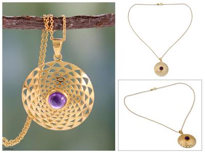 Gold vermeil amethyst pendant necklace, 'Jaipur Sun' - 22k Gold Vermeil and Amethyst Necklace India Jewelry