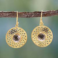 Gold vermeil smoky quartz dangle earrings, 'Jaipur Suns' - Gold vermeil smoky quartz dangle earrings