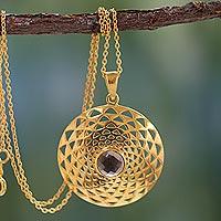 Gold vermeil smoky quartz pendant necklace, 'Jaipur Sun'