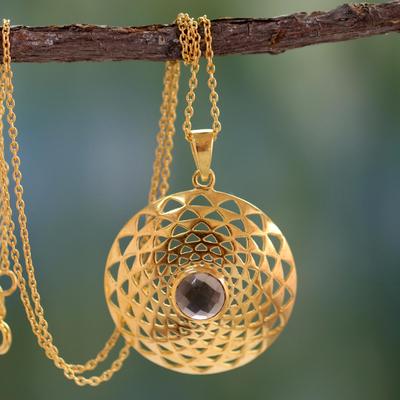 Gold vermeil smoky quartz pendant necklace, 'Jaipur Sun' - Gold vermeil smoky quartz pendant necklace
