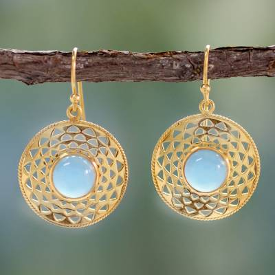Gold vermeil dangle earrings, 'Jaipur Suns' - Gold Vermeil Blue Chalcedony Earrings