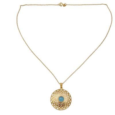 Gold vermeil pendant necklace, 'Jaipur Sun' - Fair Trade Vermeil and Chalcedony Necklace from India