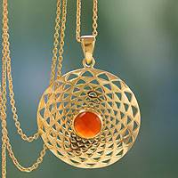 Gold vermeil pendant necklace, 'Jaipur Sun' - Handcrafted Indian Gold Vermeil and Orange Onyx Necklace