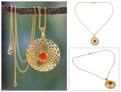 Gold vermeil pendant necklace, 'Jaipur Sun' - Gold Vermeil and Orange Onyx Necklace Indian Jewelry