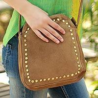 Suede shoulder bag, 'Sands of Thar' - Indian Suede Shoulder Bag