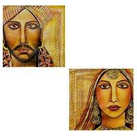 'Rajasthani Bride and Groom' (diptych) - Original Diptych Paintings from India
