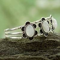 Moonstone flower bracelet, 'Rajasthan Bloom' - Handmade Floral Sterling Silver and Moonstone Cuff Bracelet