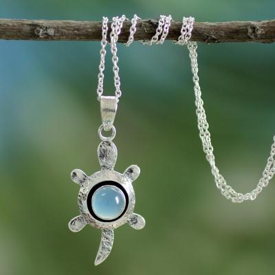 Chalcedony pendant necklace 'Turtle Wisdom' - Chalcedony and Silver Pendant Necklace
