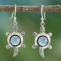 Chalcedony dangle earrings, 'Turtle Wisdom' - Handcrafted Chalcedony and Silver Dangle Earrings