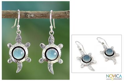 Chalcedony dangle earrings, 'Turtle Wisdom' - Handcrafted Chalcedony and Silver Dangle Earrings