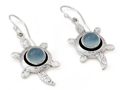 Handcrafted Chalcedony and Silver Dangle Earrings