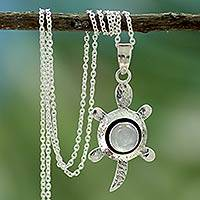 Moonstone pendant necklace 'Turtle Wisdom' - Silver Turtle Pendant Necklace