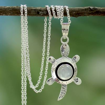 Moonstone pendant necklace 'Turtle Wisdom'