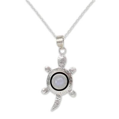 Handmade Moonstone Turtle Pendant Necklace with Sterling Silver
