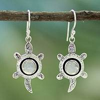 Moonstone dangle earrings, 'Turtle Wisdom' - Moonstone dangle earrings
