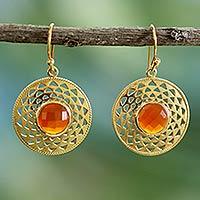 Gold vermeil onyx dangle earrings, 'Jaipur Sunshine' - Gold Vermeil Onyx Earrings Indian Jewelry